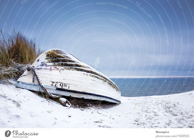 Beach Lubmin - Winter Study VII Strand Natur Landschaft Schönes Wetter Eis Frost Schnee Felsen Ostsee Wasserfahrzeug blau braun weiß Himmel Wolken Steine orange
