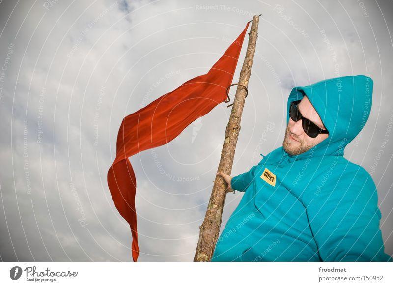 defekt Mann Jugendliche Himmel rot Fahne Gastronomie Konzert kämpfen Sonnenbrille Kapuze Politik & Staat Hongkong China Sozialismus Fusion Kommunismus