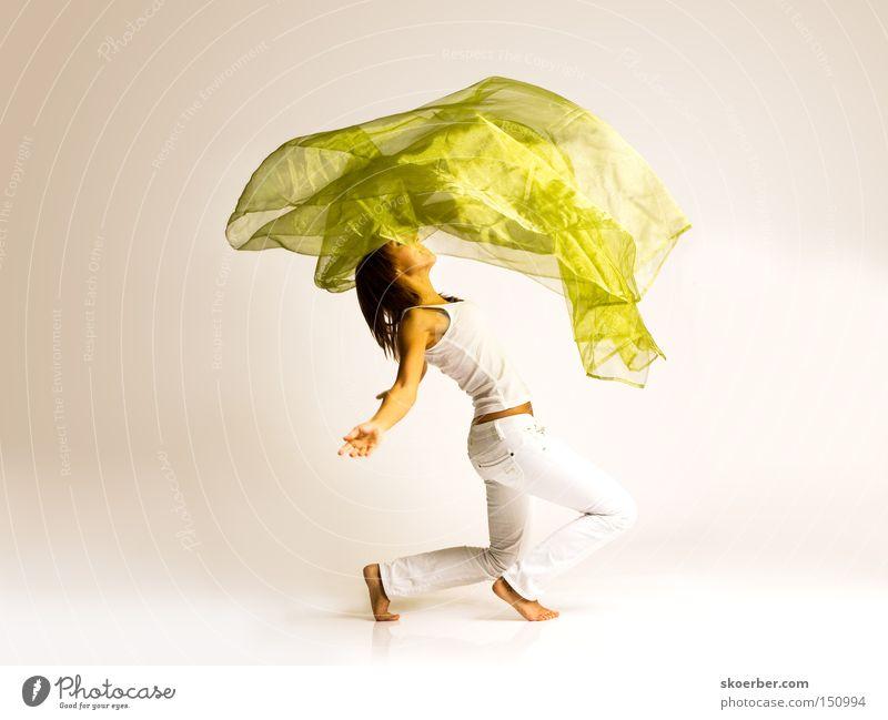 Unter dem Tuch Frau Freude lachen Tanzen Wind Stoff Tuch