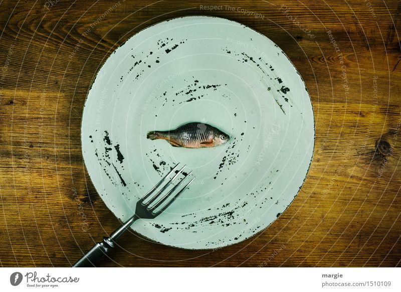 Fischgericht: ein Teller und eine Gabel, darauf ein winziger Fisch Lebensmittel Ernährung Mittagessen Abendessen Bioprodukte Diät Fasten Gesundheit Übergewicht