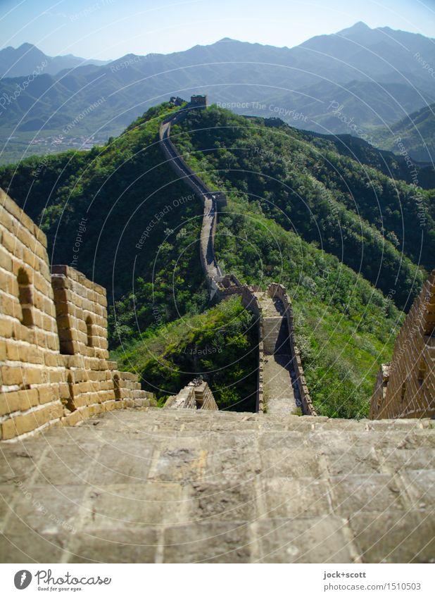 Hinterm Horizont gehts weiter! Ferne Chinesische Architektur Weltkulturerbe Tier Wolkenloser Himmel Sommer Schönes Wetter Berge u. Gebirge Peking Mauer Wand