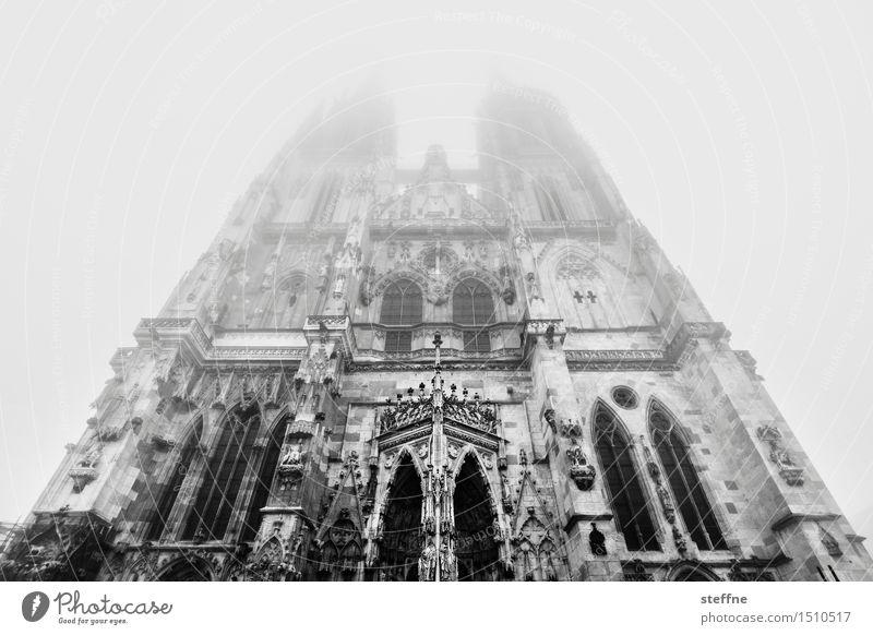 transzendieren Natur Winter Nebel Regensburg Kirche Dom Fassade Religion & Glaube Gott Gotteshäuser Transzendenz Himmel (Jenseits) Gebet Schwarzweißfoto
