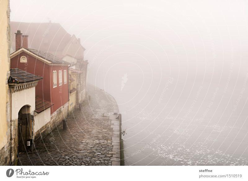 Alles fließt: Donau Landschaft Haus Winter Nebel geheimnisvoll mystisch schlechtes Wetter Regensburg