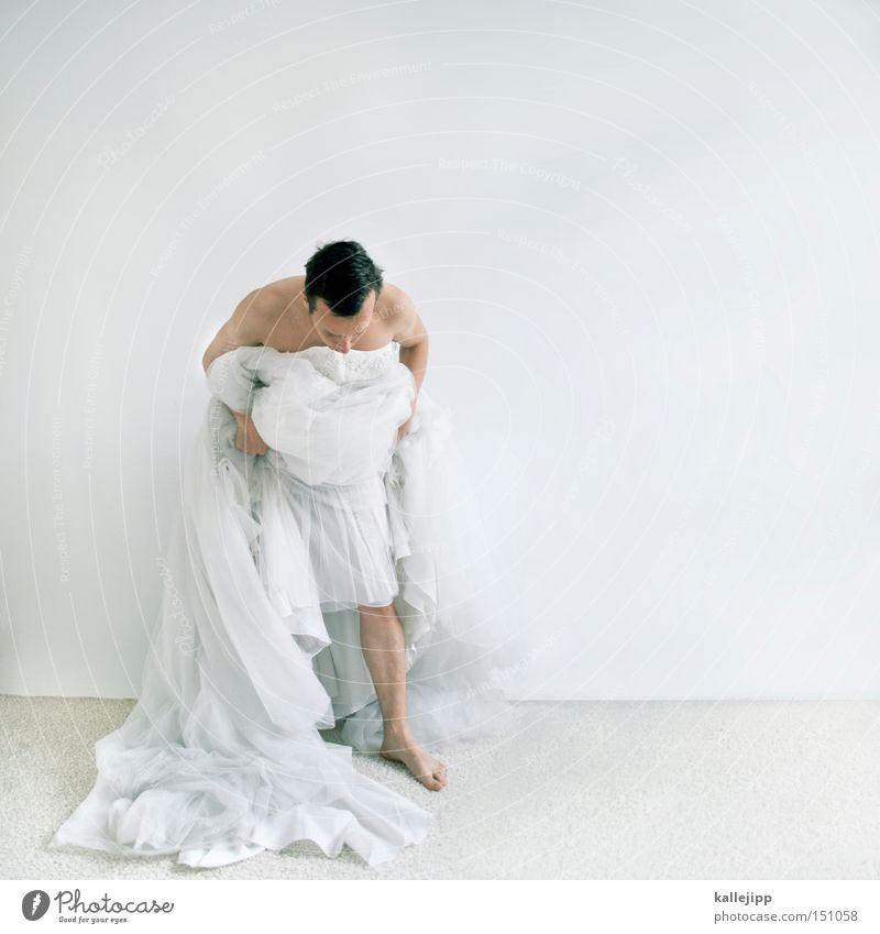 white trash Frau Mann weiß Feste & Feiern Tanzen Tanzveranstaltung Stoff Kleid Braut verbeugen Tüll