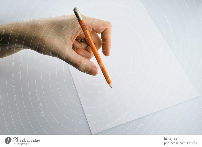 linkshänder Mensch Hand Blatt Schule Papier Studium Bildung schreiben Student zeichnen Gemälde Brief Schweben Surrealismus Zauberei u. Magie Schulunterricht