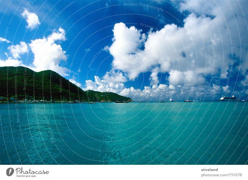 Kreuzfahrtziel Karibik Karibisches Meer Kleine Antillen Insel Küste Bucht Himmel Kreuzfahrtschiff Wasser Urwald Ferien & Urlaub & Reisen blau grün türkis Strand