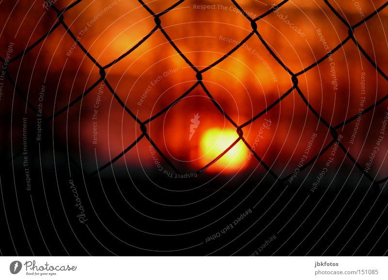 Maschendratzaun rot Ferien & Urlaub & Reisen Sonne schwarz dunkel orange Orange Sicherheit Romantik Zaun Frankreich Abenddämmerung Draht Maschendrahtzaun
