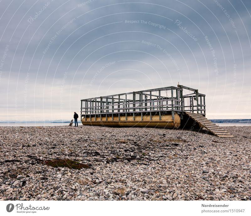 Zwei.... Mensch Himmel Hund Mann Wasser Meer Einsamkeit Wolken ruhig Tier Ferne Erwachsene Wege & Pfade Küste Freiheit Horizont