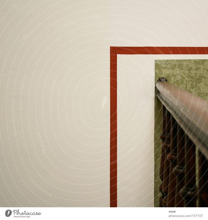 Rechts um die Ecke Design Häusliches Leben Wohnung Haus Innenarchitektur Tapete Mauer Wand Holz Linie eckig einfach grün weiß Treppengeländer Treppenhaus
