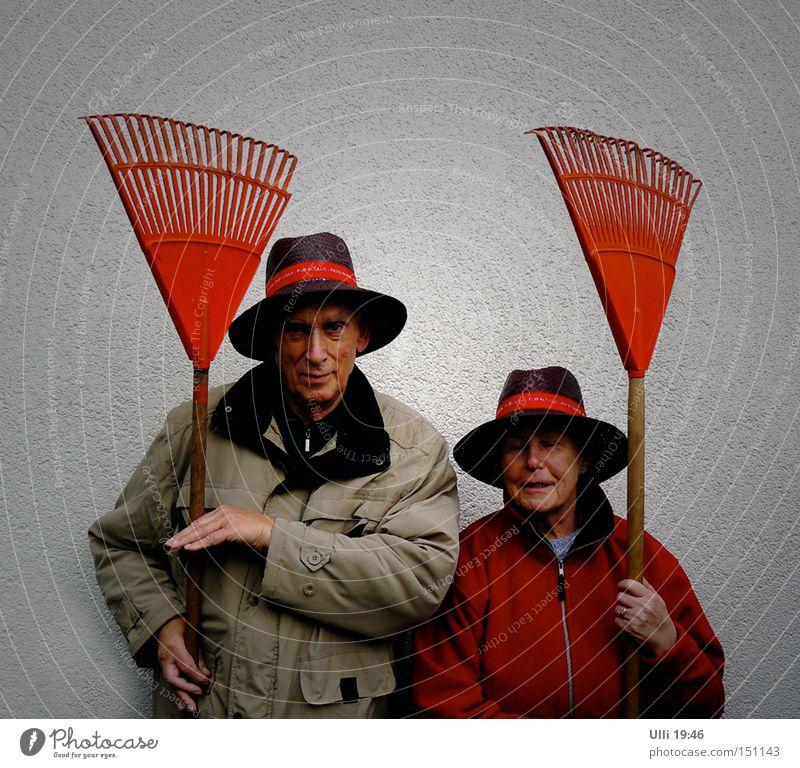SEK Oranienburg (ziemlich erschöpft). Garten Arbeit & Erwerbstätigkeit Weiblicher Senior Frau Männlicher Senior Mann Paar 2 Mensch Herbst Blatt Hut Lächeln