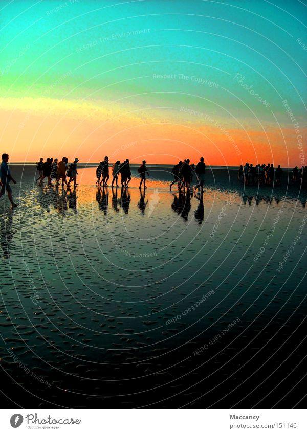 walk to sunset Mensch Himmel Meer Leben Menschengruppe Freiheit Sand leuchten Erde Ziel anstrengen Mitgefühl