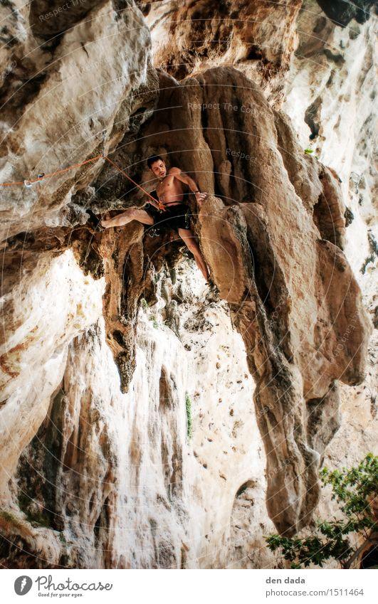 Klettern in Tonsai Beach Thailand Mensch Ferien & Urlaub & Reisen Jugendliche Junger Mann Berge u. Gebirge Erwachsene gelb Sport außergewöhnlich Felsen orange