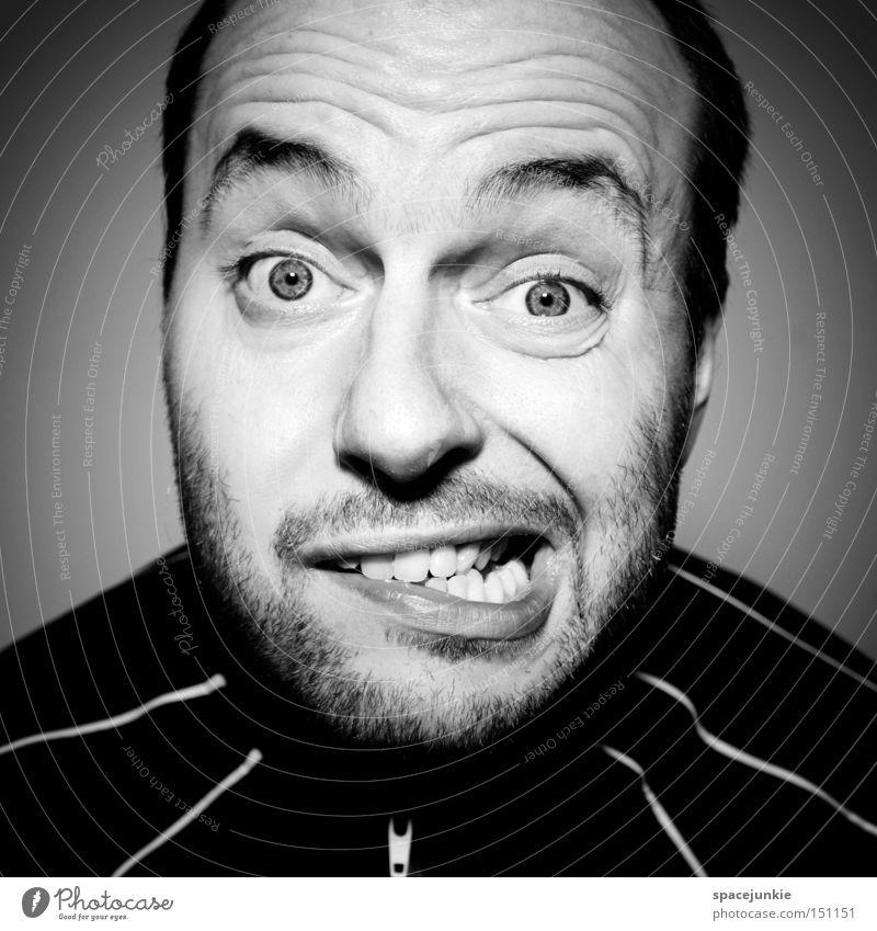 TV friend Mann Porträt Schwarzweißfoto verrückt Fernsehen Fernseher Nervosität Aufregung Freude