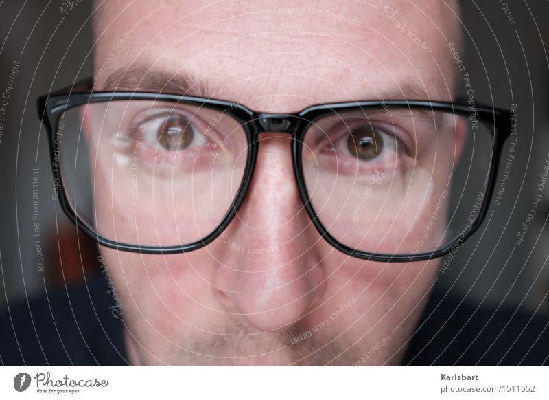 Nerdig Mensch Jugendliche Mann 18-30 Jahre Gesicht Erwachsene Leben Lifestyle Arbeit & Erwerbstätigkeit maskulin Büro Kommunizieren lernen Studium Brille