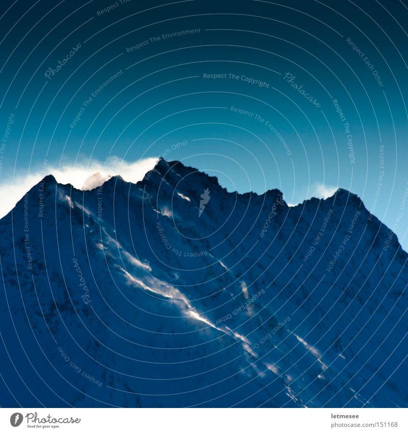 No Ski Area Berge u. Gebirge Schnee kalt blau Wechte Wind Sturm Eis Gegenlicht Winter