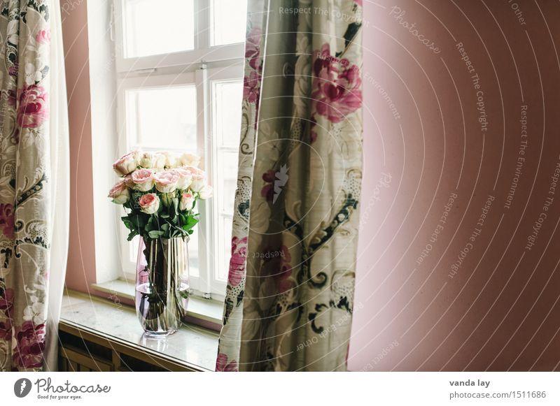 Interior Fenster Innenarchitektur Stil Lifestyle Design Wohnung Raum Häusliches Leben Dekoration & Verzierung kaufen Rose Blumenstrauß Reichtum Wohnzimmer