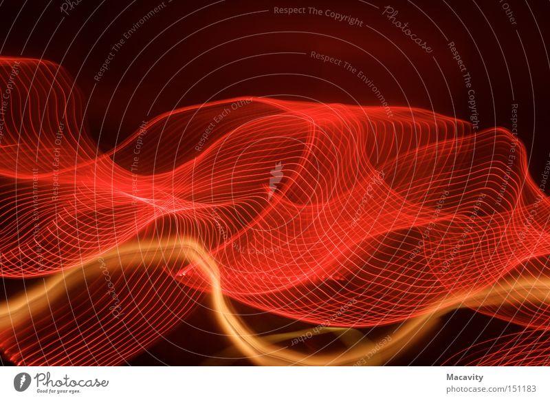 Lichterschwurbelwellenkerzenkette abstrakt rot gelb dunkel hell orange Wellen gold modern Verkehr ästhetisch Geschwindigkeit Energiewirtschaft Zukunft Kreis