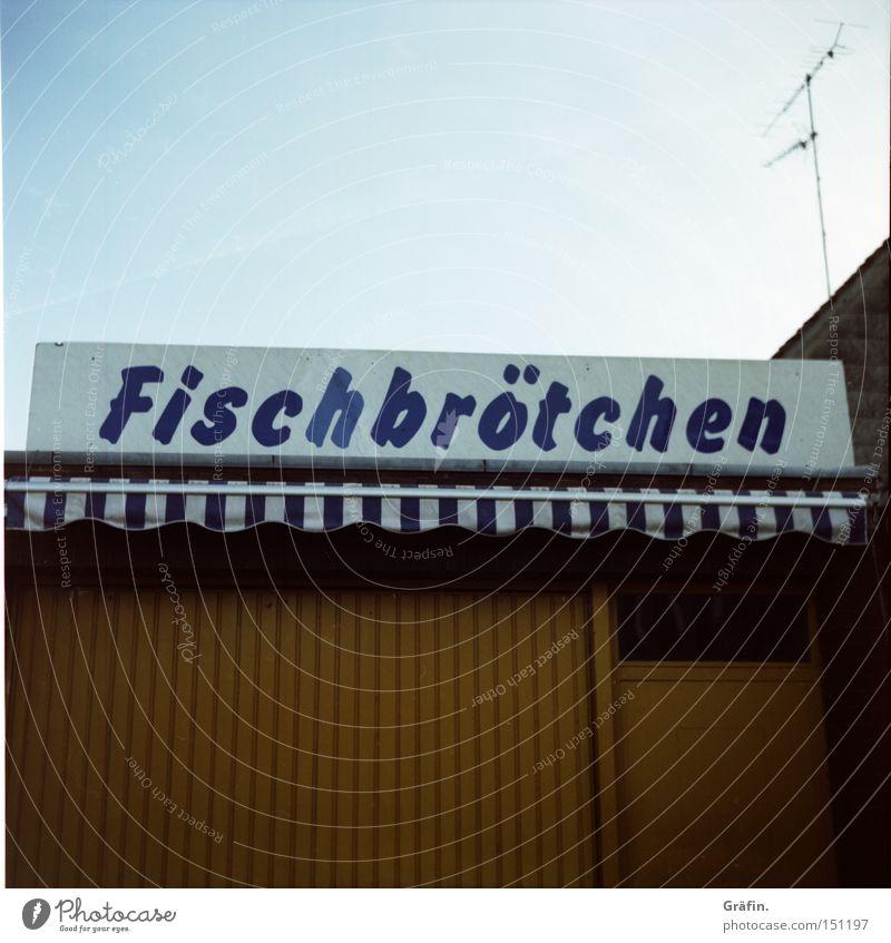 Arbeitssuchend Fisch Brötchen Tourist geschlossen Kiosk Buden u. Stände Aal Hering Ernährung Markise Schilder & Markierungen Buchstaben Tür frisch knusprig