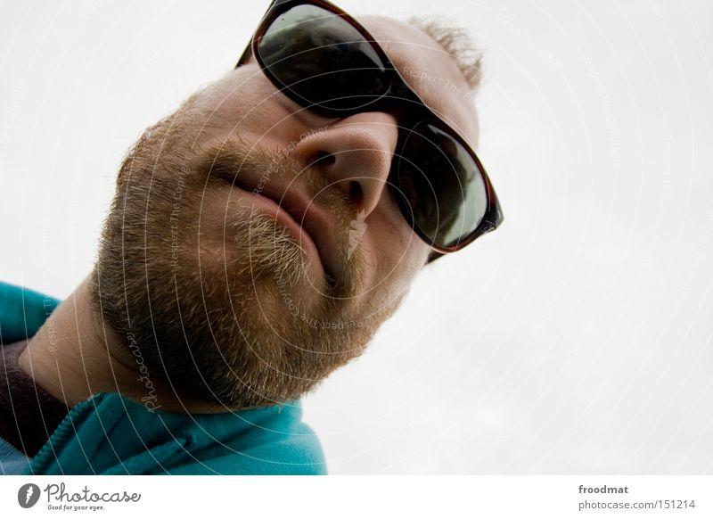 is cool man Bart Hongkong Gesicht Mann Sonnenbrille Coolness Weitwinkel Mund lässig Sommer froodmat verrückt Nase Kopf Verzerrung Fusion