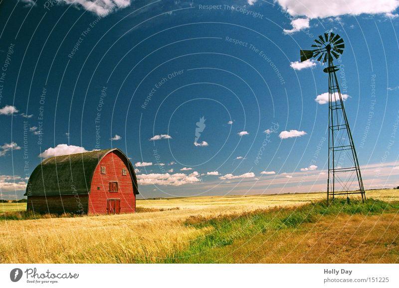 Friedliche Koexistenz Natur alt blau rot Sommer Wolken Ferne gelb Gras Zufriedenheit Feld Kitsch Silo Dorf Getreide Windkraftanlage