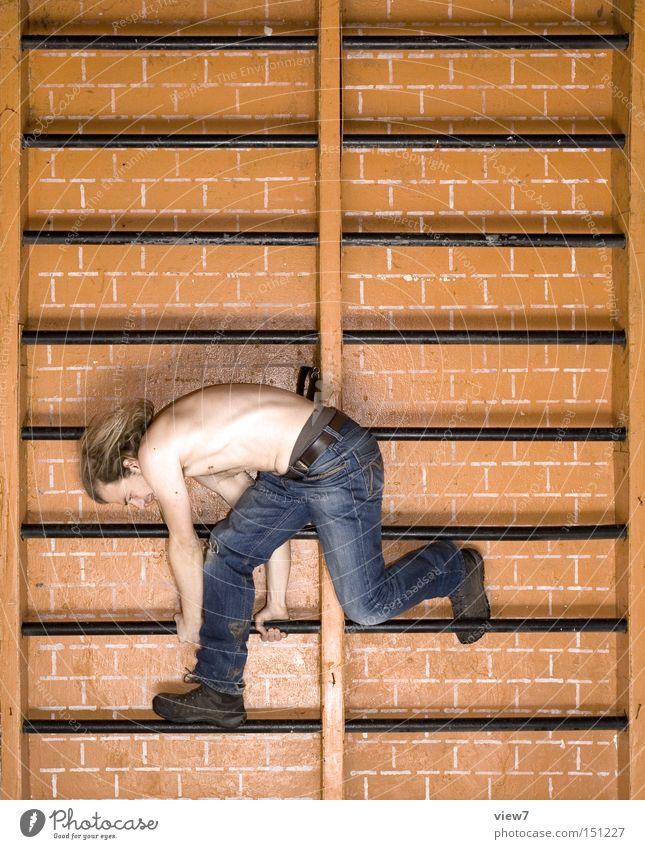 Schulsport l Mann alt Freude Wand Spielen Bewegung Körper Klettern DDR hängen Gerät Sportler Schulunterricht Freizeit & Hobby Leiter Bildung