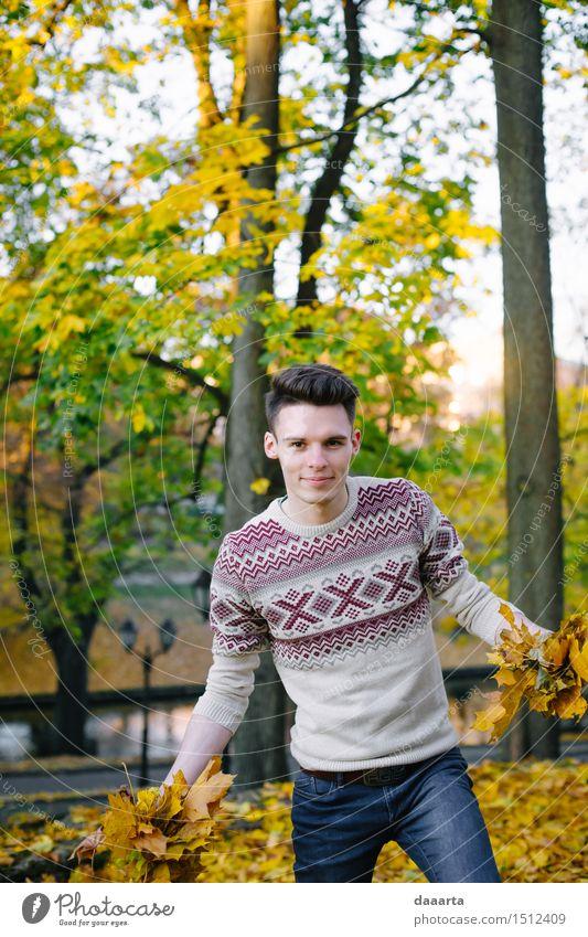 Natur Jugendliche Baum Sonne Junger Mann Blatt Freude Leben Herbst Stil Spielen Lifestyle Garten Feste & Feiern Freiheit Design