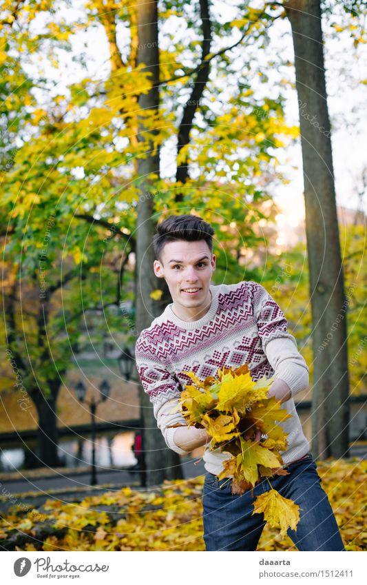 Natur Jugendliche Pflanze Baum Junger Mann Blatt Freude Leben Gefühle Stil Spielen Lifestyle Garten Feste & Feiern Freiheit Stimmung