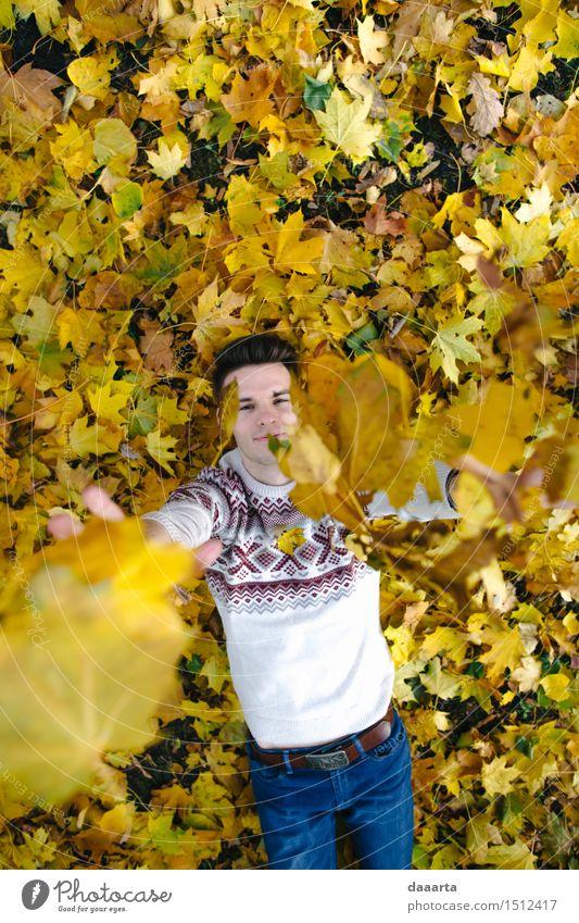 Herbst Spiel Natur Ferien & Urlaub & Reisen Jugendliche Junger Mann Blatt Freude Leben Gefühle Stil Lifestyle Garten Feste & Feiern Freiheit Stimmung Design