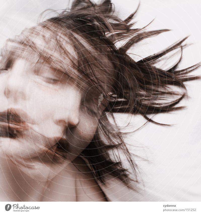 Traumphase Frau Mensch schön ruhig Gesicht Leben Gefühle Bewegung träumen ästhetisch schlafen drehen Doppelbelichtung geschlossene Augen