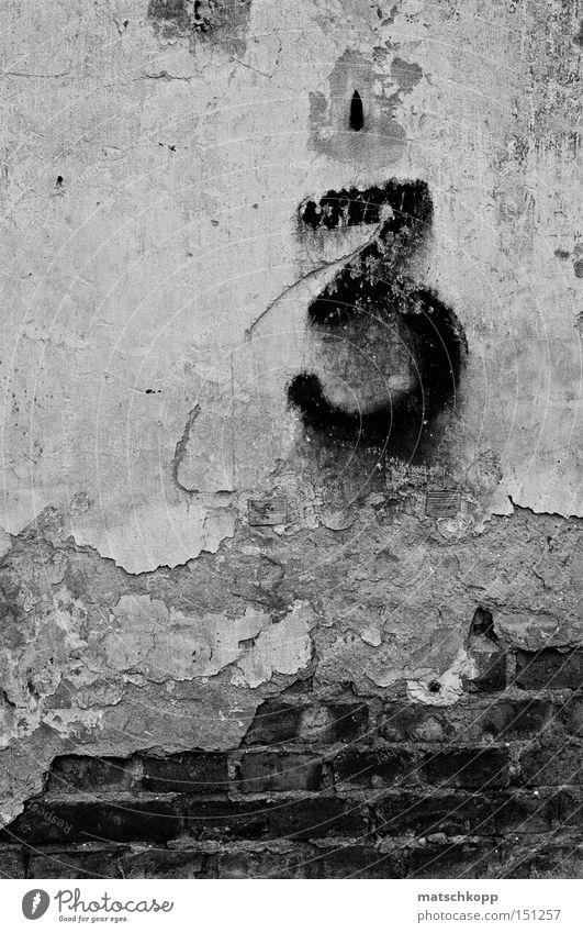 Verfallene Nummer Drei alt schwarz Mauer dreckig Schilder & Markierungen 3 Ziffern & Zahlen verfallen Backstein Ruine schäbig Demontage Schwarzweißfoto