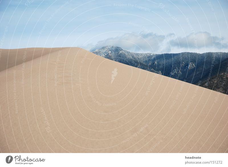Great Sand Dunes Himmel Ferien & Urlaub & Reisen Sommer Wolken kalt Berge u. Gebirge Erde Reisefotografie USA Wüste Hügel Düne
