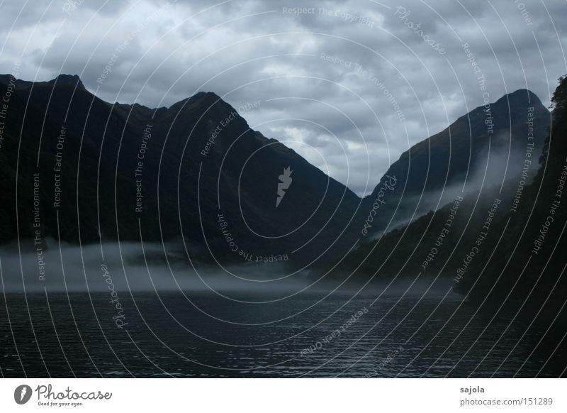 verhangen im fjord Wasser Wolken dunkel Berge u. Gebirge Landschaft Stimmung Nebel geheimnisvoll mystisch Fjord Neuseeland