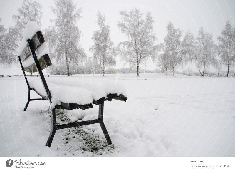 Auszeit Natur Baum Winter ruhig Einsamkeit kalt Schnee Erholung Park Eis Nebel leer Frost Pause Bank Frieden