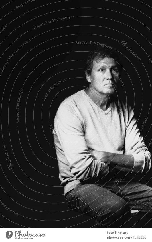 Portrait Papa Mensch maskulin Mann Erwachsene Vater 45-60 Jahre Kunst alt Traurigkeit ästhetisch Gefühle Stimmung Wahrheit Kontrast Fotografie Melancholie