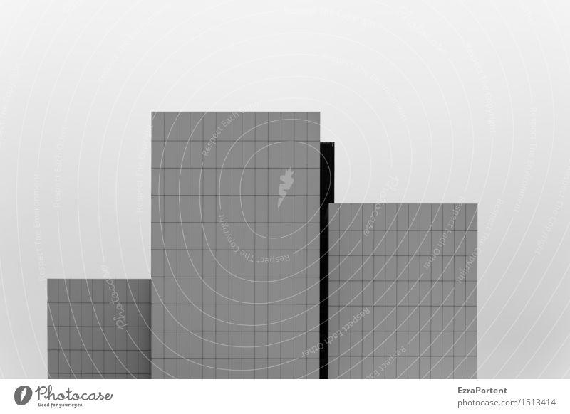3.|1.|2. Himmel Haus Hochhaus Bauwerk Gebäude Architektur Mauer Wand Fassade Linie Streifen stehen ästhetisch dunkel Design kariert Grafische Darstellung
