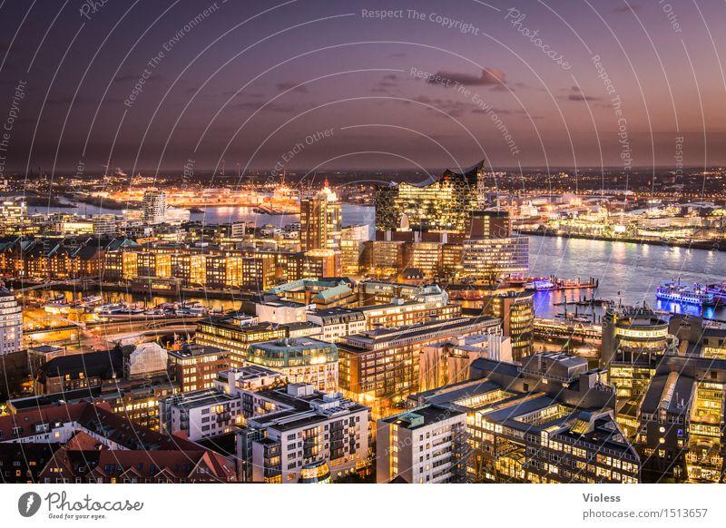 Big City Lights IV Hamburg Nacht Hafen Lichter Lichtermeer Langzeitbelichtung Sonnenuntergang Elbe beleuchtet Großstadt Dämmerung Elbphilharmonie