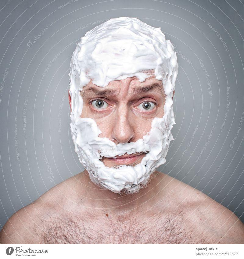 Old man Mensch maskulin Mann Erwachsene Vater 1 30-45 Jahre Bart Dreitagebart Vollbart Behaarung Brustbehaarung beobachten Blick außergewöhnlich verrückt Angst