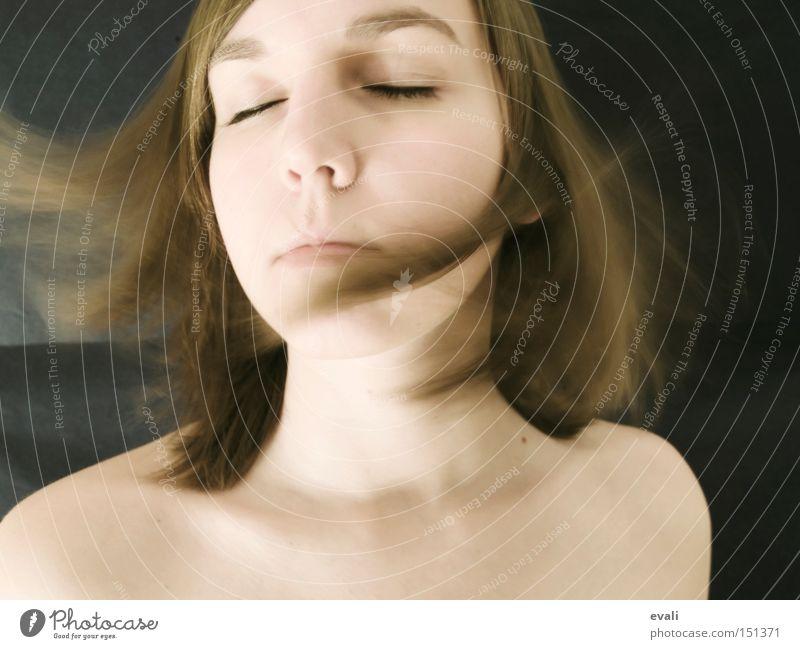 Frei sein Frau Gesicht Bewegung Haare & Frisuren geschlossene Augen