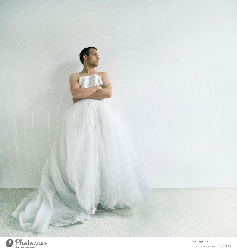 15 min. of fame Mann weiß Religion & Glaube Mode warten Kirche Bekleidung Stoff Kleid Falte Braut Textilien Enttäuschung beleidigt Tüll