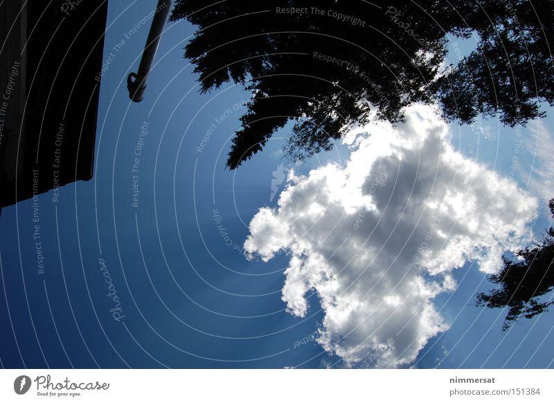 Schattenloch Himmel Natur blau Sonne Wolken schwarz
