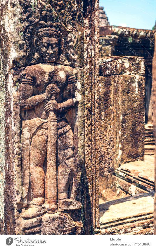 Ruinen von Angkor Thom in Kambodscha Ferien & Urlaub & Reisen alt Baum Architektur Religion & Glaube Gebäude Stein Erde Felsen Park Tourismus wild Kultur