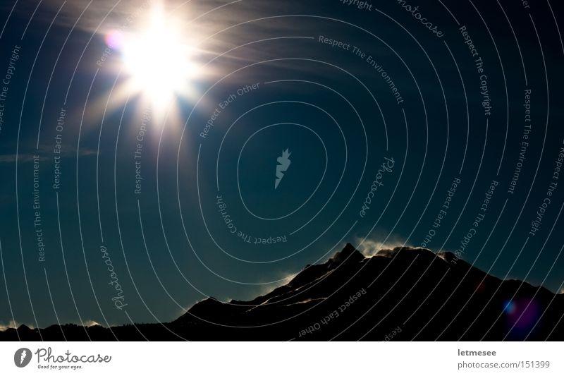 Schneeverwehung Sonne blau Berge u. Gebirge Landschaft Wind Sturm Schneewehe