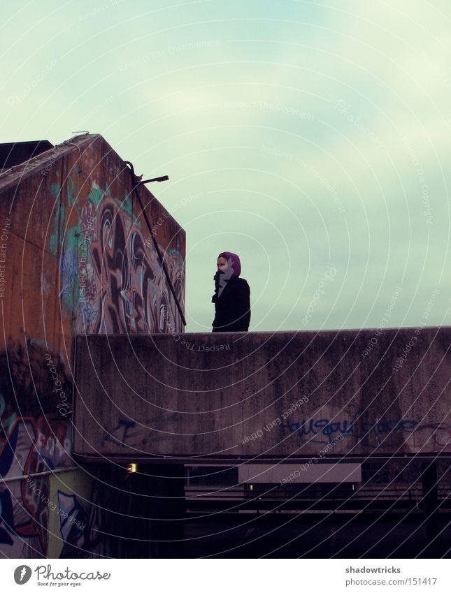 Umsonst & draußen Haus Frau Erwachsene Kunst Himmel Stadt Parkhaus Dach Beton Farbe Straßenkunst Grafitti Aerosol Detailaufnahme