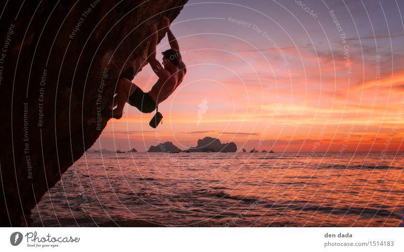 Boulder at Tonsai beach Thailand Mensch Ferien & Urlaub & Reisen Jugendliche Meer Junger Mann Erholung Ferne 18-30 Jahre Erwachsene Sport außergewöhnlich