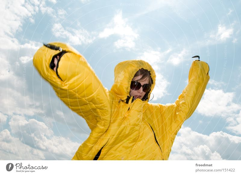 frau gelb™ Frau Jugendliche Sonne Sommer Freude Gesicht Kopf Wärme Nase Bekleidung verrückt Coolness Sonnenbrille Mensch Brille Fusion