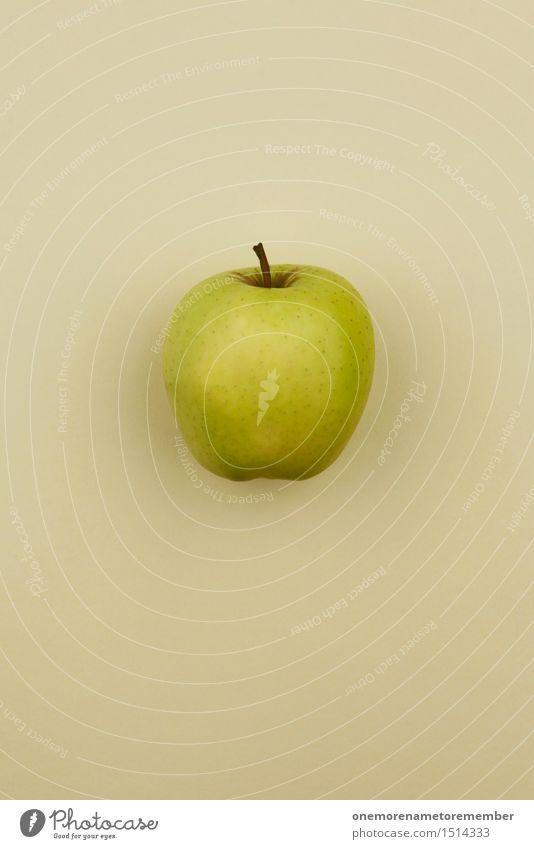 Jammy Apfel auf Beige Kunst Kunstwerk ästhetisch Apfelbaum Apfel der Erkenntnis Apfelernte Apfelschale vitaminreich Vitamin C grün Farbfoto mehrfarbig