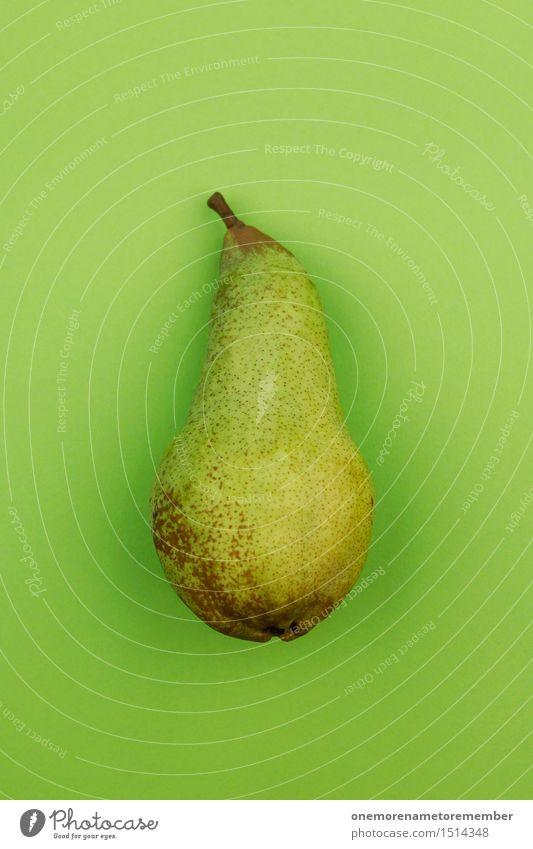 Jammy Birne auf Grün Kunst Kunstwerk ästhetisch Birnenstiel grün grasgrün Frucht lecker Gesunde Ernährung Bioprodukte Design gestalten innovativ Klarheit