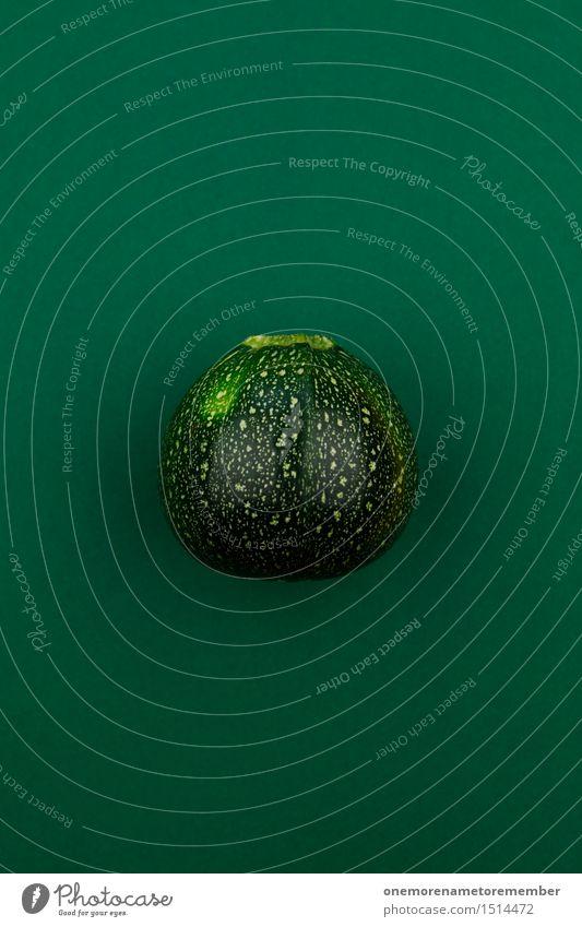 Jammy Zucchini auf Grün Kunst Kunstwerk ästhetisch Gemüse Ernte Kürbis Kürbisgewächse grün dunkelgrün Design Farbfoto mehrfarbig Innenaufnahme Studioaufnahme