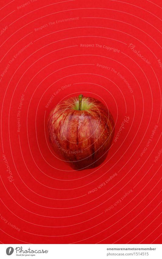 Jammy Apfel auf Rot rot Kunst Design ästhetisch Kunstwerk knallig vitaminreich Apfel der Erkenntnis Vitamin C Apfelsaft Apfelschale Apfelplantage