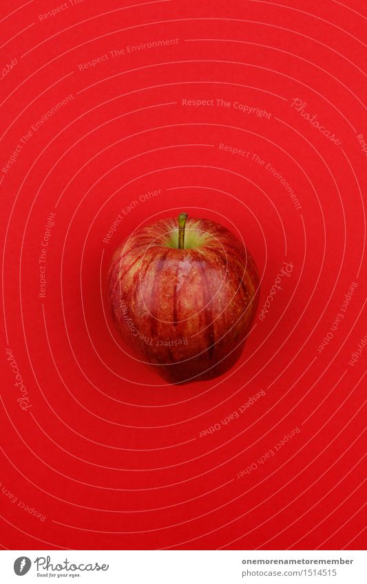 Jammy Apfel auf Rot rot Kunst Design ästhetisch Apfel Kunstwerk knallig vitaminreich Apfel der Erkenntnis Vitamin C Apfelsaft Apfelschale Apfelplantage